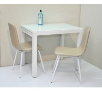 Savanno White Dining Table c/w 2pcs Chairs ( Extendable Table top)